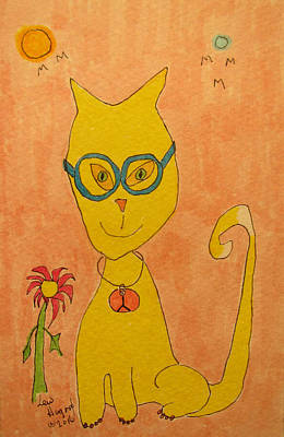 Painting - Yellow Cat With Glasses by Lew Hagood