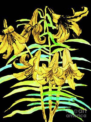 Painting - Yellow Lilies, Hand Drawn Painting by Irina Afonskaya