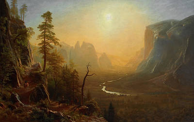 Mountain Valley Painting - Yosemite Valley, Glacier Point Trail by Albert Bierstadt