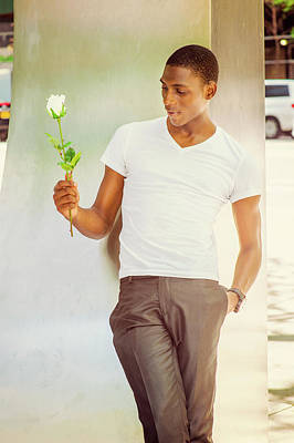 Photograph - Young African American Man Missing You With White Rose In New Yo by Alexander Image