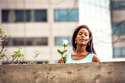Photograph - Young Black Woman Missing You With White Rose In New York by Alexander Image