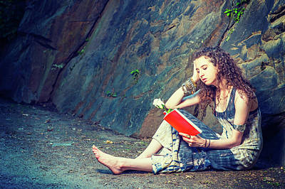 Photograph - Young American Woman Reading Red Book, Sitting On Ground, Travel by Alexander Image