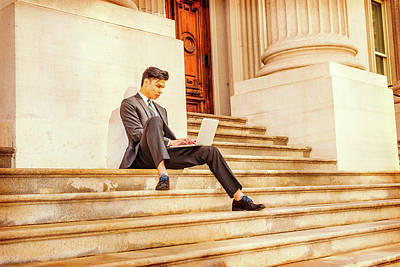 Photograph - Young Asian American Business Man Working On Laptop Computer Out by Alexander Image