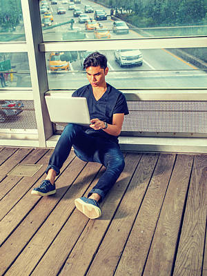 Photograph - Young Asian American Man Working On Laptop Computer Outside In N by Alexander Image