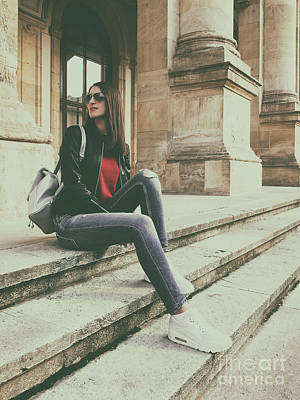Urban Outfit Photograph - Young Beautiful Girl Posing In Autumn Outfit by Radu Bercan