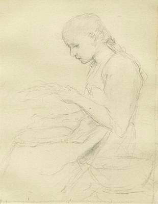 Young Girl Reading Art Print by Albert