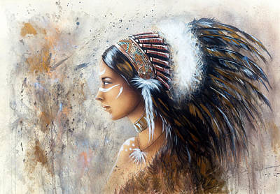 Native American Spirit Portrait Painting - Young Indian Woman Wearing A Big Feather Headdress A Profile Portrait On Structured Abstract Backgr by Jozef Klopacka