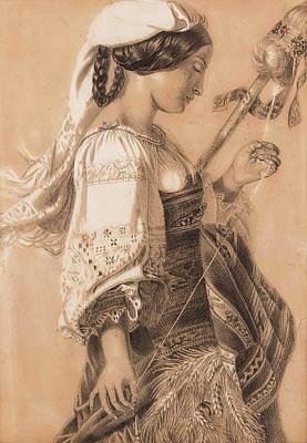 Young Italian With Distaff Art Print by Mihaly Kovacs