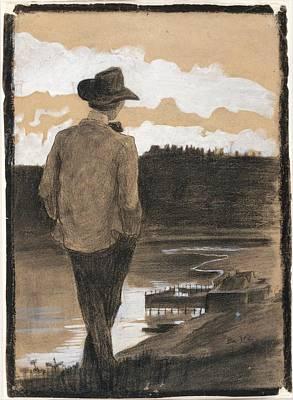 Umberto Boccioni Painting - Young Man On A Riverbank by Umberto Boccioni