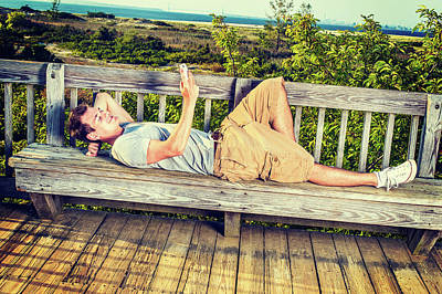 Photograph - Young Man Relaxing Outside. by Alexander Image
