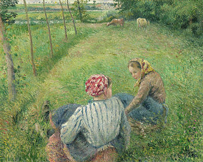 Women Painting - Young Peasant Girls Resting In The Fields Near Pontoise by Camille Pissarro