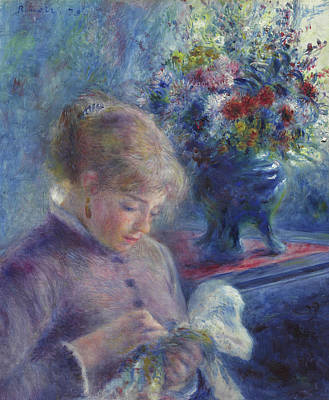 Stitching Painting - Young Woman Sewing by Pierre Auguste Renoir