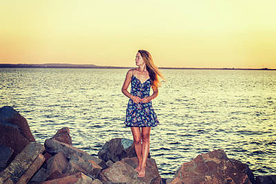 Photograph - Young Woman Waiting For You On Sunset by Alexander Image