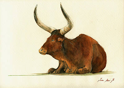 Bull Painting - Zebu Cattle Art Painting by Juan  Bosco