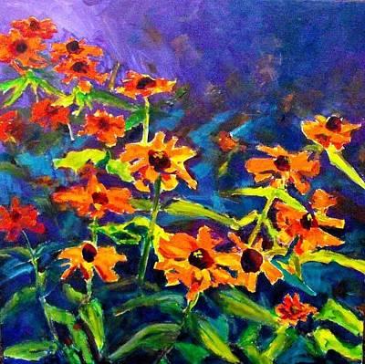Orange Flowers Painting - Zinnias In My Garden  by Margaret  Plumb