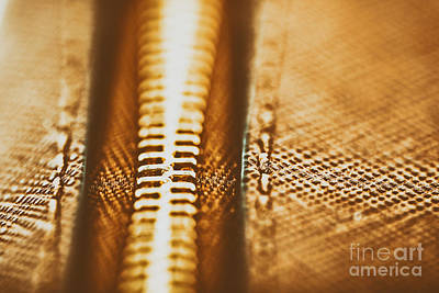 Leather Purses Photograph - Zipper Closeup On Brown Leather Wallet by Radu Bercan