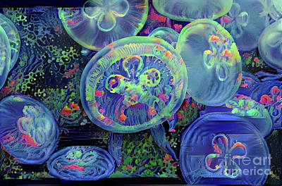 Luminescent Digital Art - Abstract Jellyfish by Amy Cicconi