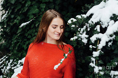 Beautiful Young Girl Model In Winter In A Parked Park. In A Red Sweater. Art Print by Oleksandr Masnyi