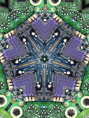 Circuit Digital Art - Computer Circuit Board Kaleidoscopic Design by Amy Cicconi