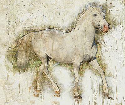 Mammals Digital Art - Horse by Elena Kosvincheva