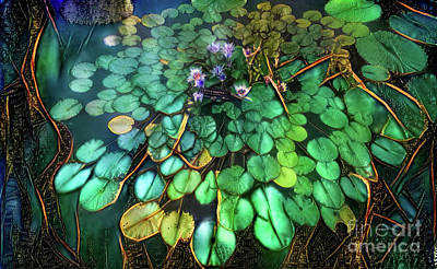 Jeweled Water Lilies Art Print by Amy Cicconi