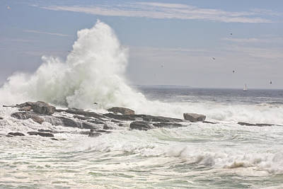 Photograph - Pemaquid Point Maine Crashing Wave by Keith Webber Jr