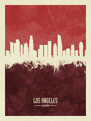 Digital Art - Los Angeles California Skyline by Michael Tompsett