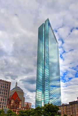 Boston Photograph - 200 Clarendon - Clouds Reflections On The John Hancock Tower by Joann Vitali