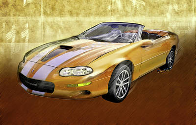 Street Rod Mixed Media - 2002 4th Generation Camaro Convertible by Chas Sinklier