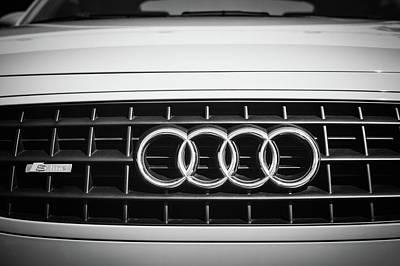 Photograph - 2002 Audi Emblem -0083bw2 by Jill Reger