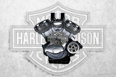 Digital Art - 2002 Harley-davidson Revolution Engine With 3d Badge  by Serge Averbukh