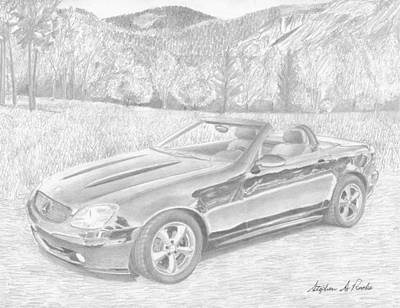 Mercedes Automobile Drawing - 2002 Mercedes Benz Slk320 Sports Car Art Print by Stephen Rooks