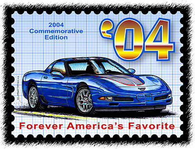 Special Edition Corvettes Drawing - 2004 Commemorative Edition Corvette by K Scott Teeters