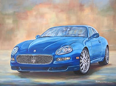 Painting - 2005 Blue Maserati Gransport  by Anna Ruzsan