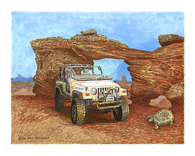 Jeep Drawing - 2005 Jeep Rubicon 4 Wheeler by Jack Pumphrey