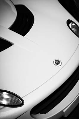 Photograph - 2005 Lotus Elise Hood Emblem -0064bw by Jill Reger