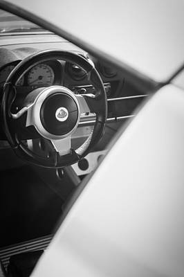 Photograph - 2005 Lotus Elise Steering Wheel -0104bw by Jill Reger