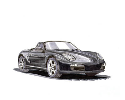 Drawing - 2005 Porsche Boxster by Jack Pumphrey