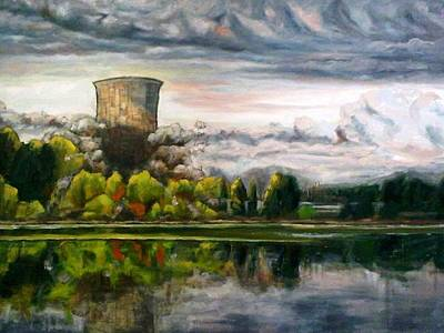 Painting - 2006 - Trojan Nuclear Power Plant Demolition by Kevin Davidson