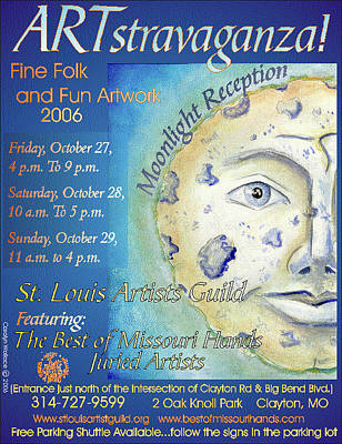 Man In The Moon Digital Art - 2006 Artstravaganza Poster Man In The Moon by Carolyn Coffey Wallace