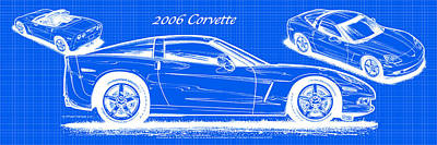 2006 Corvette Blueprint Series Art Print