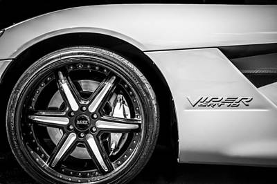 Photograph - 2006 Dodge Viper Srt 10 Wheel Emblem -0053bw by Jill Reger