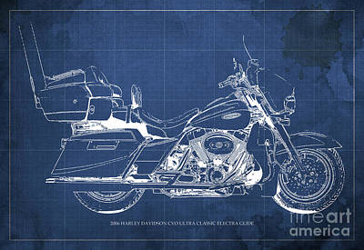2006 Harley Davidson Cvo Ultra Classic Electra Glide Blueprint Blue Background Art Print by Pablo Franchi