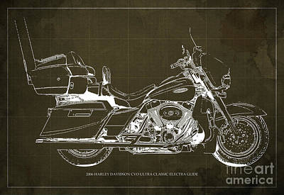 2006 Harley Davidson Cvo Ultra Classic Electra Glide Blueprint Brown Background Art Print by Pablo Franchi