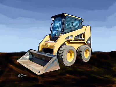Worker Painting - 2007 Caterpillar 236b Skid-steer Loader by Brad Burns
