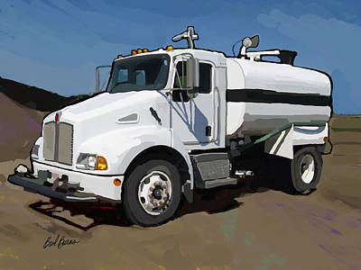Worker Painting - 2007 Kenworth T300 Water Truck by Brad Burns