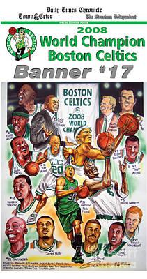 Champions Drawing - 2008 Boston Celtics Team Poster by Dave Olsen