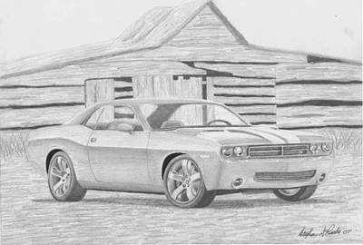 Challenger Drawing - 2008 Dodge Challenger Srt8 Classic Car Art Print by Stephen Rooks