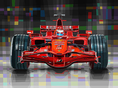 2008 Digital Art - 2008 Ferrari F1 Racing Car Kimi Raikkonen by Yuriy Shevchuk