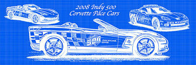 2008 Indy 500 Corvette Pace Cars Blueprint Series - Reversed Print by K Scott Teeters